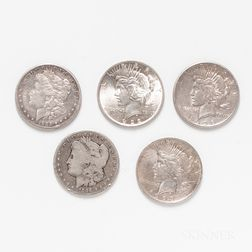 Five Morgan and Peace Dollars