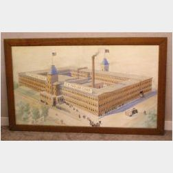 Albert Poole, (American, 1853-1934)  Architectural Rendering of the EE Taylor Corp. Shoe Factory, Brockton, Massachusetts