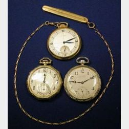 Three 14kt Gold Openface Pocket Watches, Longines and Illinois
