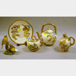 Four-Piece Royal Worcester Floral Decorated Porcelain Tea Set and a Royal Worcester Yellow Hammers Bird Porcelain Figural Group.