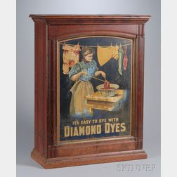 Chromolithograph Diamond Dyes Tin Panel and Birch Retail Counter Cabinet