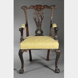 Georgian-style Carved Mahogany Open Armchair