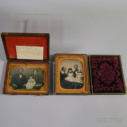 Two Quarter-plate Daguerreotype Portraits of Young Families