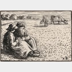 Lucien Pissarro (French, 1863-1944), After Camille Pissarro (French, 1831-1903)      Les guardeuses des vaches