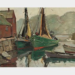 Aldro Thompson Hibbard (American, 1886-1972)      Motif #1 / A Rockport Harbor View