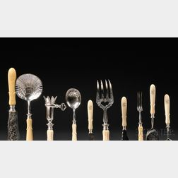 French .950 Silver and Ivory Flatware Service