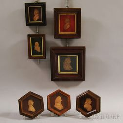 Seven Framed Wax Portrait Miniatures