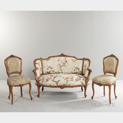 Three-piece Louis XV-style Carved Beechwood Seating Suite