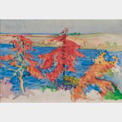 Dodge Macknight (American, 1860-1950)      Coastal View with Autumn Trees