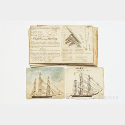Navigational Notebook with Hand-drawn Maps and Ship Illustrations, Salem, New Jersey, 1823.