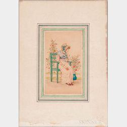 Greenaway, Kate (1846-1901) Two Watercolors.