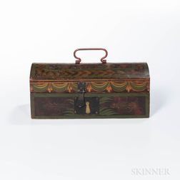 Stenciled and Grain-painted Dome-top Pine Document Box