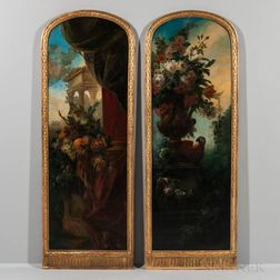 Continental School, 17th Century Style, Pair of Painted Panels: Opulent Fruit Still Life on a Pedestal with Drapery and Classical Ruins