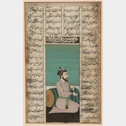 Miniature Painting of a Mughal Ruler