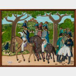Jean Claude Severe (Haitian, 20th Century)    18th Century Haitian Soldiers on Horseback