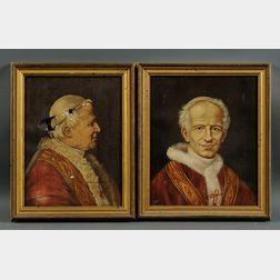 Continental School, 19th/20th Century      Lot of Two Portraits of Pontiffs:  Pius IX