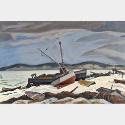 Ross E. Moffett (American, 1888-1971)      Winter in Wellfleet