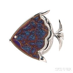 18kt White Gold Gem-set Tropical Fish Brooch, Mauboussin
