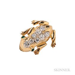 18kt Gold and Diamond Frog Pin