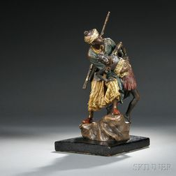 Franz Bergman Austrian Cold-painted Bronze Figure of a   Bedouin Man Abducting a Woman