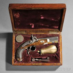 Cased Single-shot Libeau Percussion Pistol