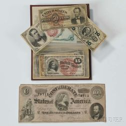 Assortment of Fractional Currency and a Confederate $100 Note