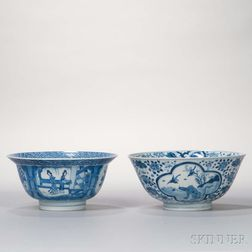 Two Large Blue and White Bowls