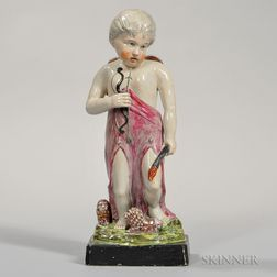 Pink Lustre-decorated Pearl-glazed Earthenware Cupid