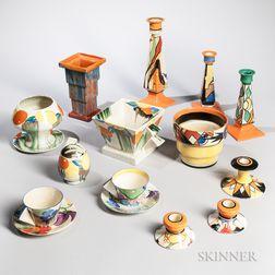 Seventeen Clarice Cliff Ceramic Items