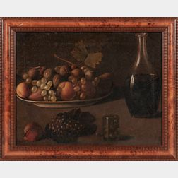 Dutch School, 19th Century      Still Life with Plate of Fruit and Carafe of Wine