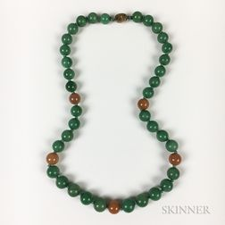Chinese Multicolored Hardstone Bead Necklace