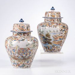 Pair of Majolica Jars and Covers