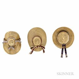 Suite of Three 18kt Gold Straw Hat Brooches
