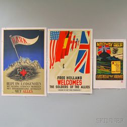 Five Dutch/British and Scandinavian WWII Lithograph Relief Posters