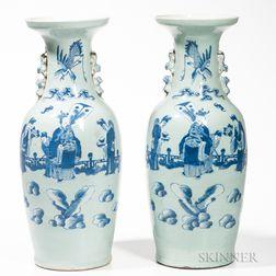Pair of Underglaze Blue Celadon Vases