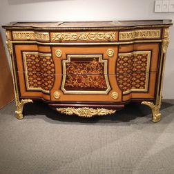 Regency-style, Gilt-metal-mounted, and Marquetry Commode
