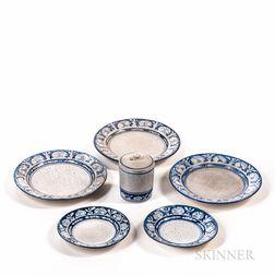 "Six Pieces of Dedham Pottery ""Rabbit"" Pattern Tableware"