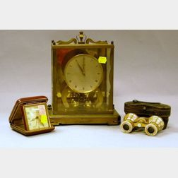 Schatz Brass and Glass Mantel Clock, Phinney-Walker Travel Clock, and a Pair of   Mother-of-Pearl Opera Glasses