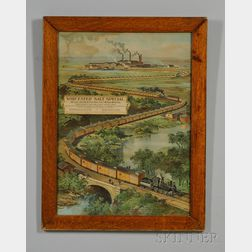 "Oak Framed Chromolithograph Railroad Print ""Worcester Salt Special, 162 Cars Started   by President-elect William McKinley,"""