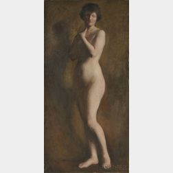 Attributed to William McGregor Paxton (American, 1869-1941)      Standing Nude Woman