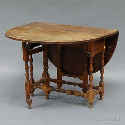 William & Mary-style Cherry and Maple Drop-leaf Gate-leg Table with End Drawer