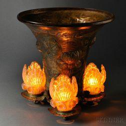 Art Nouveau Repousse Post Lamp, Probably Loetz Shades