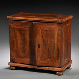 German Marquetry and Walnut Table Cabinet