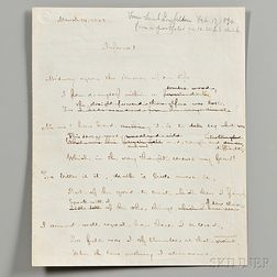 Longfellow, Henry Wadsworth (1807-1882) Working Manuscript Translation of Dante's Inferno  , Two Pages.