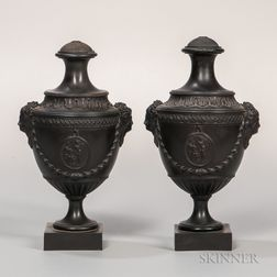 Pair of Palmer Black Basalt Vases and Covers