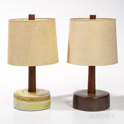 Two Martz Pottery and Teak Table Lamps with Linen Shades