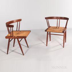 Pair of George Nakashima Grass-seat Chairs