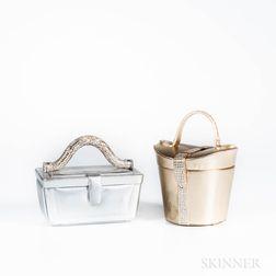 Two Judith Leiber Metallic Leather and Rhinestone Handbags