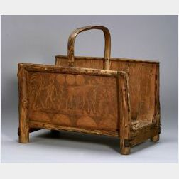 Northeast Wood and Birch Bark Pictorial Log Carrier