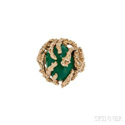 14kt Gold Ring and Dyed Green Chalcedony Ring